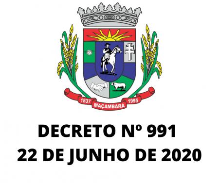 Decreto Nº 991, de 22 de junho de 2020