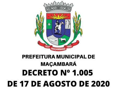 DECRETO N° 1005, DE 17 DE AGOSTO DE 2020